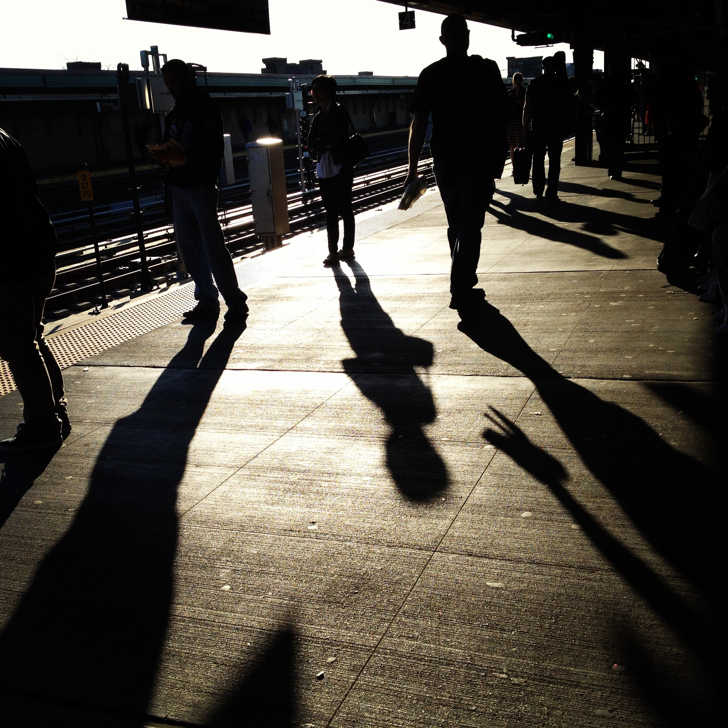 subway platform shadows